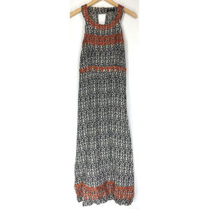 THML M Dress Maxi Long Black White Coral Embroider